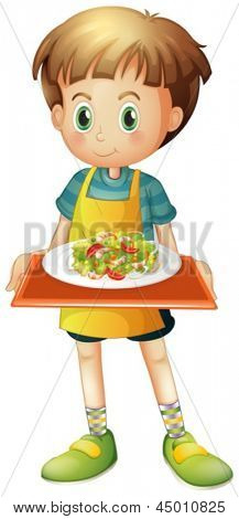 Illustration of a young boy holding a tray with a plate on a white background