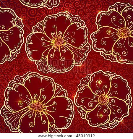 Ornate vinous flowers vector seamless pattern