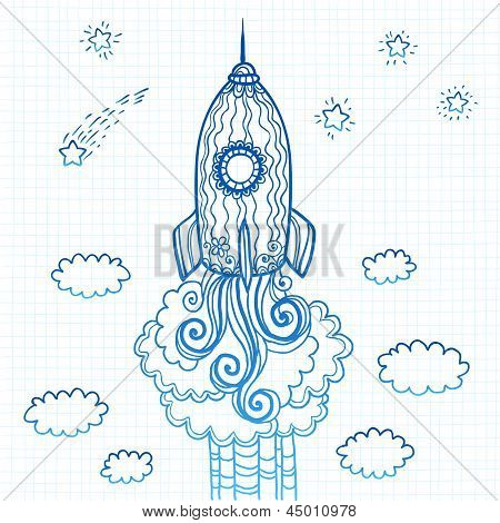 Vector ornate doodles rocket starting to space