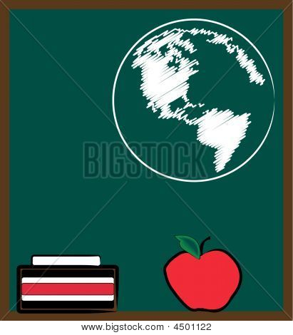 Chalkboard Apple And Earth.