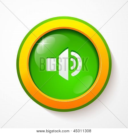 Green glass vector sound button