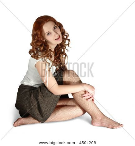 Sitting Sexual Long-haired Girl