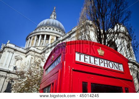 Red Telephone Box Outside St. Paul's Cathedral In London