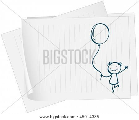 Illustration of a paper with a drawing of a kid holding a balloon on a white background