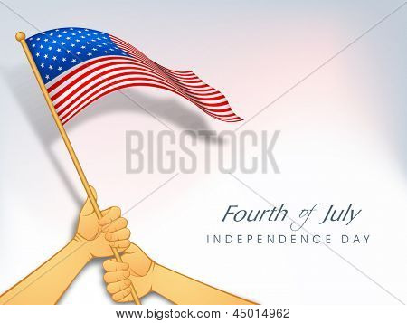American Independence Day background with waving flag holding by two hands.