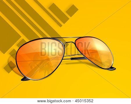 Abstract Summer background with sunglasses.