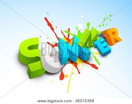 3d summer text on colorful grungy background, banner, flyer or poster for summer holidays.