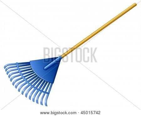 Illustration of a blue rake on a white background