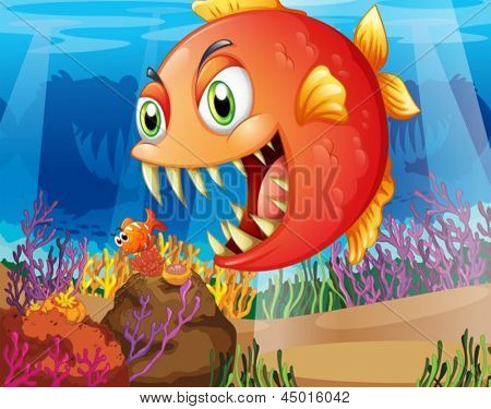 Illustration of a predator and a prey under the sea