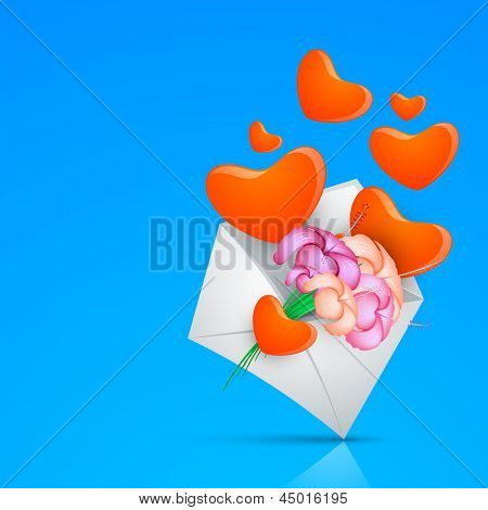 Happy Mothers Day background with hearts and flowers coming out from an open envelope.