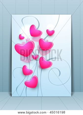 Greeting card or gift card for Happy Mothers Day with pink hearts on grey background.