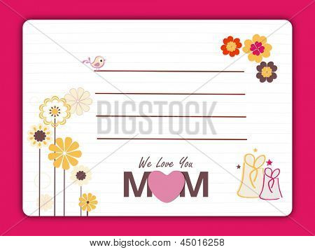 Happy Mothers Day gift card with creative flowers and gift boxes on pink background.