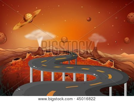Illustration of a road with planets in the outer space