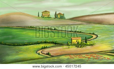 Rural landscape in Tuscany, Italy. Digital painting.