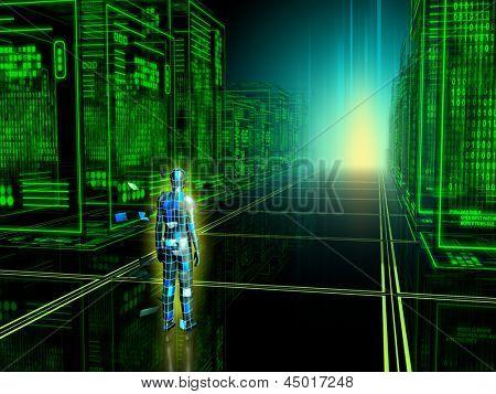 Human figure entering into a virtual reality. Digital illustration.