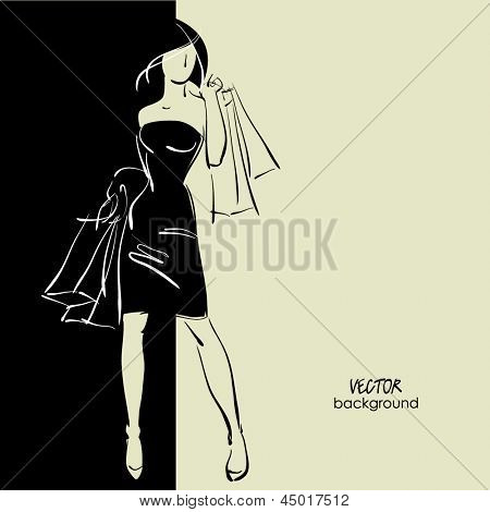 art sketching sale background with young woman in elegant dress and space for text