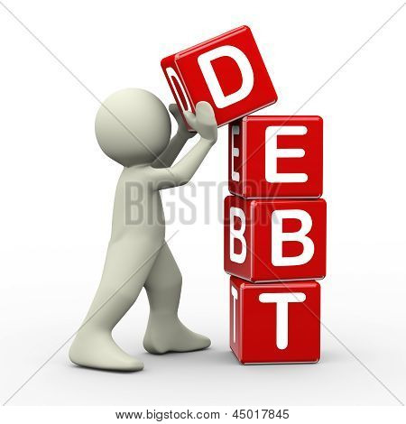 3D Mann platzieren Schulden Würfel