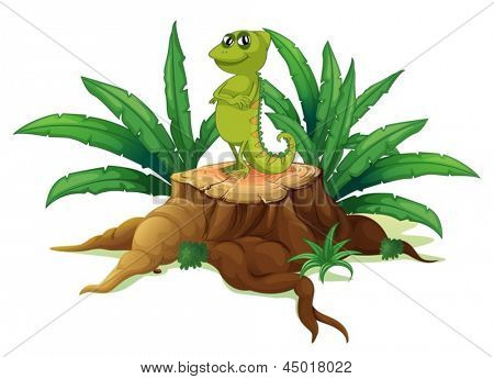 Illustration of a cameleon above a wood on a white background