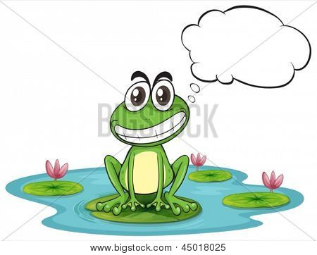 Illustration of a frog at the pond with empty callout on a white background