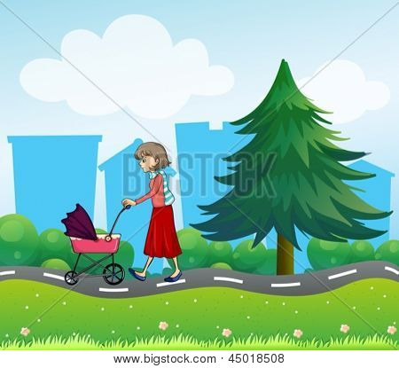 Illustration of girl with a baby stroller along the road