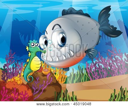 Illustration of a piranha and a seahorse under the sea