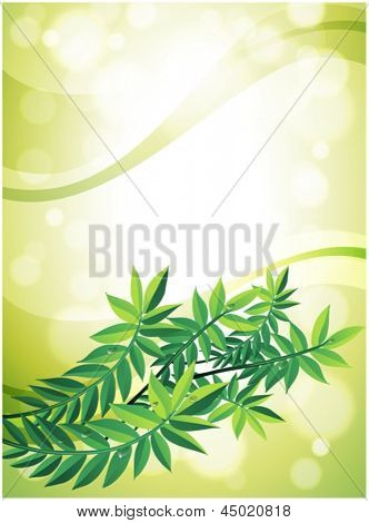 Illustration of a green stationery with leafy plant