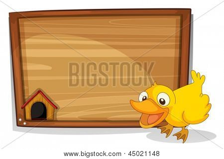 Illustration of a duck beside an empty wooden board on a white background