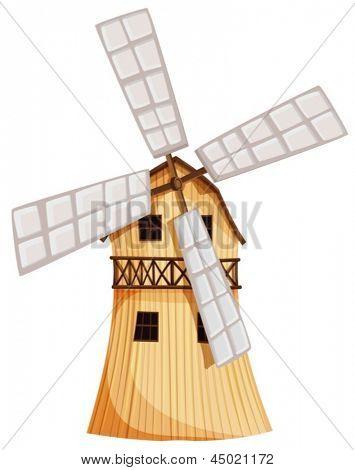 Ilustración de un molino de viento de madera sobre un fondo blanco