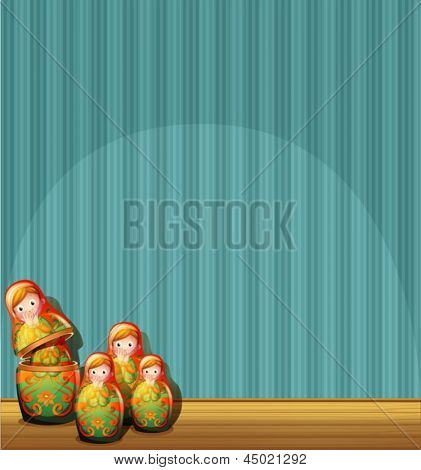 Illustration of a blue wall with four Russian dolls