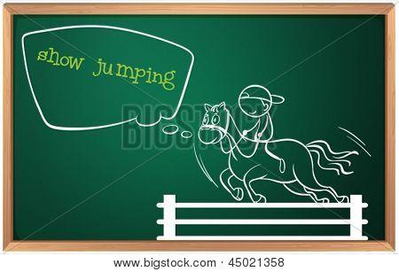 Ilustración de una pizarra con un dibujo de un niño realizar saltos sobre un fondo blanco