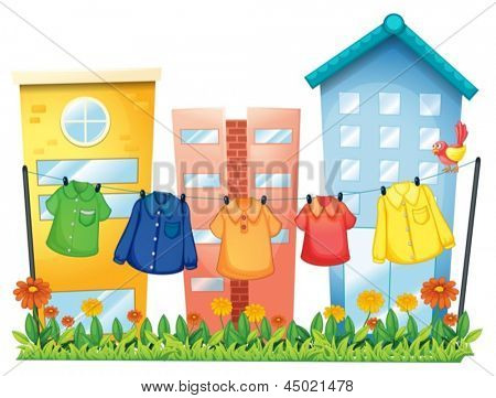 Illustration of the hanging clothes in front of the buildings on a white background