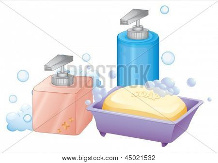 Illustration of a liquid and bar soap on a white background