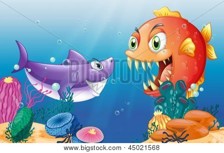 Illustration of a prey and a predator under the sea