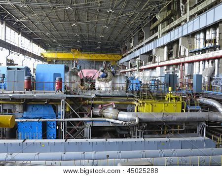 Steam Turbine During Repair, Machinery, Pipes At A Power Plant