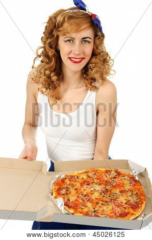 Smilling Young Woman With Pizza