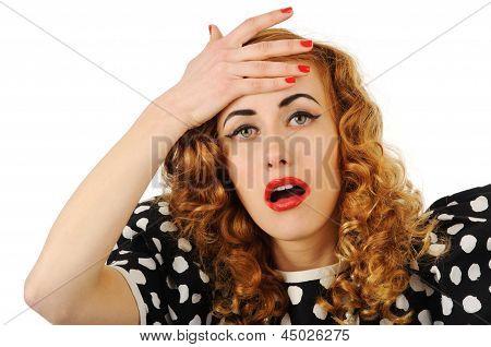 Retro Girl With Headache