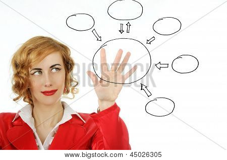 Business Woman Draws  On A Transparent Board
