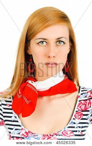 Beautiful Young Girl In Red Neckerchiefs