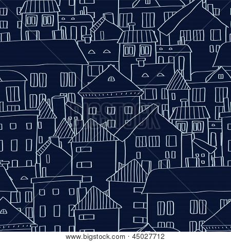 Panoramic old town seamless background in dark blue, vector