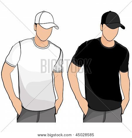 T-shirt. Men's template with human body silhouette and baseball cap.