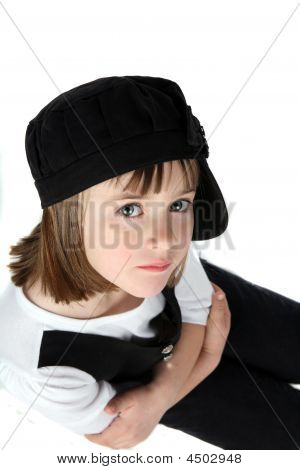 Arms Crossed Funky Little Girl In Black Hat