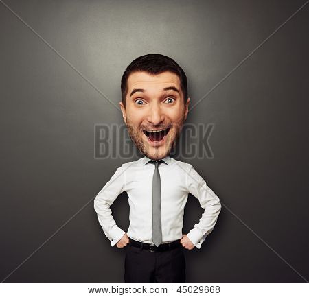 businessman have the big head and very happy