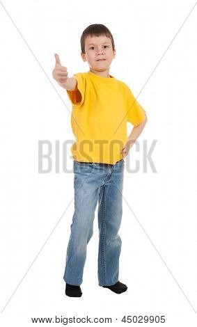 boy in yellow t-shirt show finger