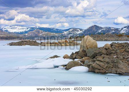 Frozen Loon Lake In High Sierras, California.