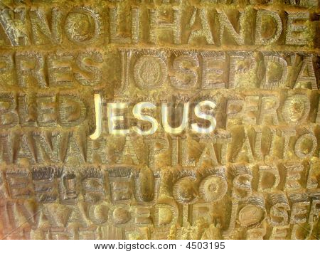 Jesus Written In Metalic Letters
