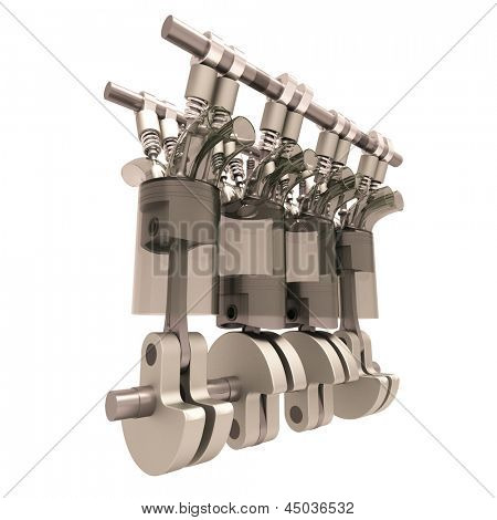 The internal combustion engine close-up isolated on white background