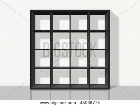 Black Empty Square Bookshelf On White Wall Background