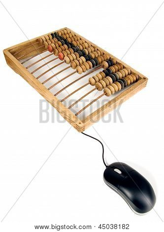 Mathematical Calculator Abacus With Computer Mouse