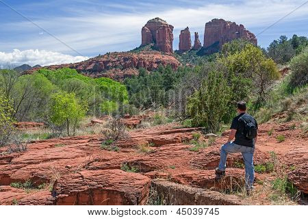 Man Hiking And Enjoy The Scenic View