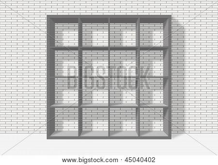 Grey Empty Square Bookshelf On White Brick Wall Background